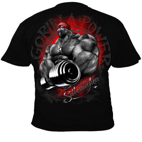 cf2a55c21bbc00 Silberrücken SR160 Plata Espalda Gorilla Power 1 – Camiseta para Hombre  Negro Negro