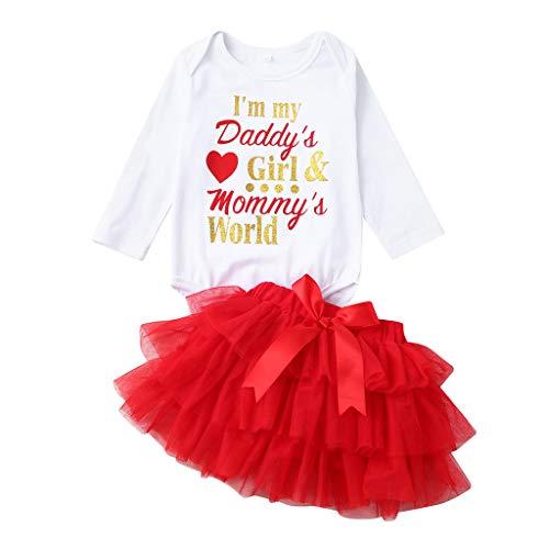 HEETEY Neugeborenes Säuglingsbaby Lange Ärmel Valentinstag Liebesbrief Romper + Einfarbiger Tutu-Tüllrock Valentine Outfits Set