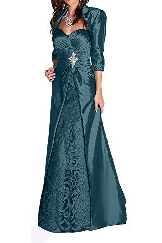 Charmant Damen Elegant Schwarz Taft Brautmutter Abendkleider Ballkleider A-linie mit Bolero-42...