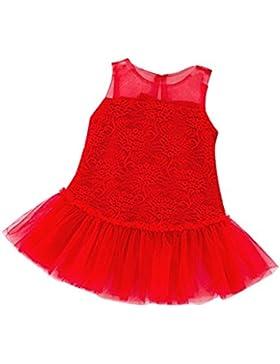 sunnymi Ärmellos Party★Mädchen Baumwolle Pure Farbe Lace Stricken Stitching Prinzessin Kleid★Newborn Baby Weihnachten...