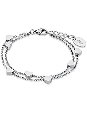 s.Oliver Kinder-Armband Teenager Mädchen 16+2 cm verstellbar mit Anhängern Herzen Edelstahl