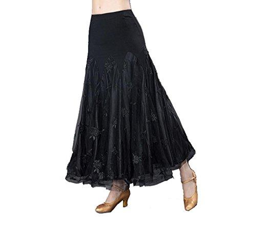 Wgwioo Modern Waltz Ballroom Kleid Flounce Röcke Frauen Blume Bestickt Rock Wettbewerb Party Rock Langes Swing Leistung Praxis Kleidung . Black . M (Länge Waltz Kleid)