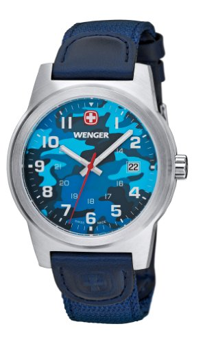 Wenger Camo Men's Quartz Watch with Blue Dial Analogue Display and Blue Nylon Strap 010441106