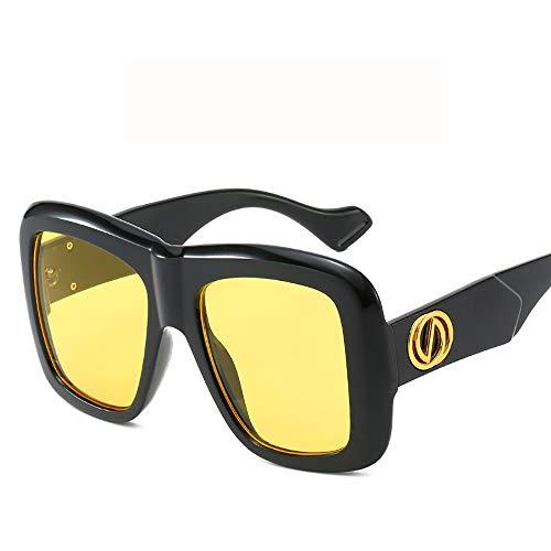 ZXYMUU Ladies Fashion Sonnenbrillen Box Trend Damen polarisierte Sonnenbrille Big Box Sonnenbrillen,Yellow