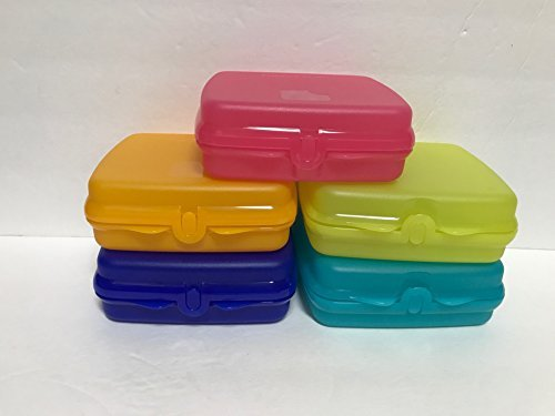 Tupperware 5 Piece Square Sandwich Keeper Lunch Set in Assorted Colors  available at amazon for Rs.5673
