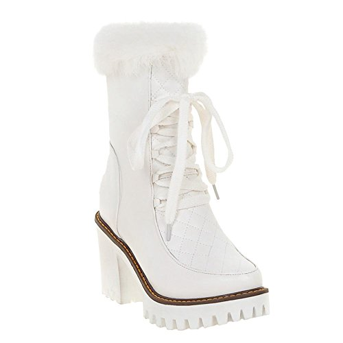 Mee Shoes Damen Pompon chunky heels Reißverschluss Plateau Stiefel Weiß