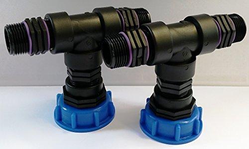 CMTech GmbH Montagetechnik CM29082938282 kappenverschraubungen s60 x 2 x 6 x 6-raccord en t, double-conteneur iBC-eAU tank-adaptateur-fitting-cANISTER