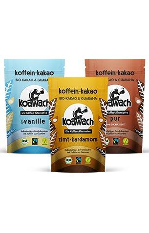 koawach Bestseller Set (3x Kakaopulver à 220g): Kakao mit Koffein aus Guarana - Bio, vegan und fair gehandelt - Neues Design