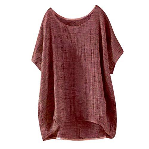 Damen Casual Übergröße Unregelmäßige Mode Lose Leinen Kurzarm Shirt Vintage Bluse Fest Hemd Lang Tank Tops T-Shirt Freizeit Oberteile Tees -