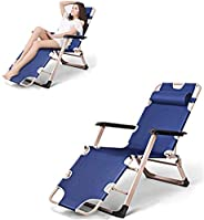 Gluckluz Floor Chair Patio Lounge Chair Portable Folding Bed Outdoor Reclining Chair Recliner with Adjustable Headrest Suppor