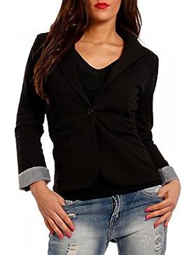 Damen Blazer aus leichter Baumwoll-Stretch-Qualität Business-Basic Kurzjacke