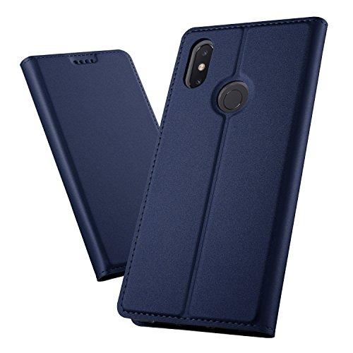 XINKO Xiaomi Mi MAX 3 Funda, Ultra Silm PU Funda Cuero Flip, Wallet PU Leather Carcasas Funda con Ranura de Tarjeta Cierre Magnético para Xiaomi Mi MAX 3,Liso Serie Azul