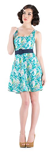 Voodoo Vixen Kleid Paisley Dress DRA2385 Blau XL