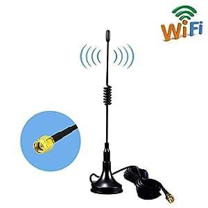SMA 4G Magnet Mount Antenna, 11DBI GSM High Gain 4G LTE Wifi Signal Booster Amplifier Modem Câble d'antenne avec socle magnétique, 3 m(SMA noir)