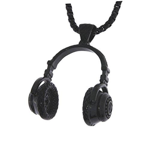 Massive Hip Hop Kopfhörer Halskette in SCHWARZ/Musik / -