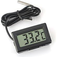 WINGONEER Monitor de temperatura Digital LCD Termómetro con sonda externa para el refrigerador y congelador acuario --Black