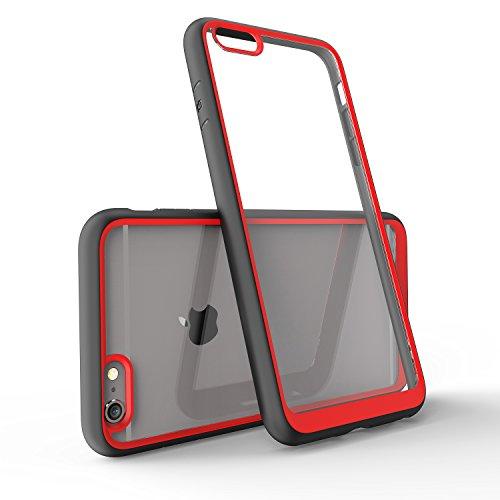FNBK Schutzhülle für iPhone 6, iPhone 6s, mit stilvollem Rand, weiches Silikon TPU Gel Bumper rot