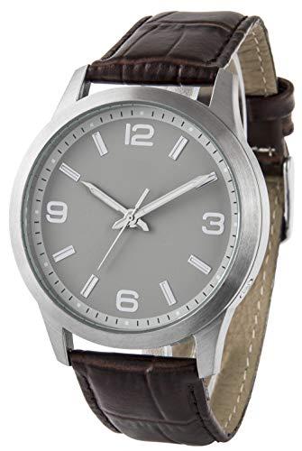 Funk-Armbanduhr, Edelstahl, mit Sekundenanzeige, Echtlederarmband