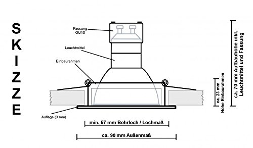IP44 LED Einbaustrahler Set Bicolor (chrom / gebürstet) mit LED GU10 Markenstrahler von LEDANDO – 5W DIMMBAR – warmweiss – 110° Abstrahlwinkel – Feuchtraum / Badezimmer – 35W Ersatz – A+ – LED Spot 5 Watt eckig - 4
