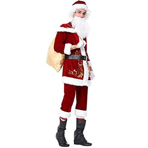 Homelex Männer Weihnachten SAMT Adult Santa Perücke Bart Kostüm Anzug (XL/16-18, Herren)