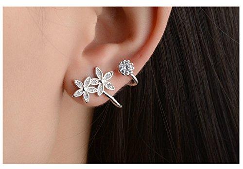 Epinki Mode Damen 1 Paar Silber Mode Blumen Ohrklemme Ohrringe 925 Silber Fake Piercing Ear Cuff Ohr Klammern Fake Piercing Fake Loch Piercing (Ear Cuff Männlich)