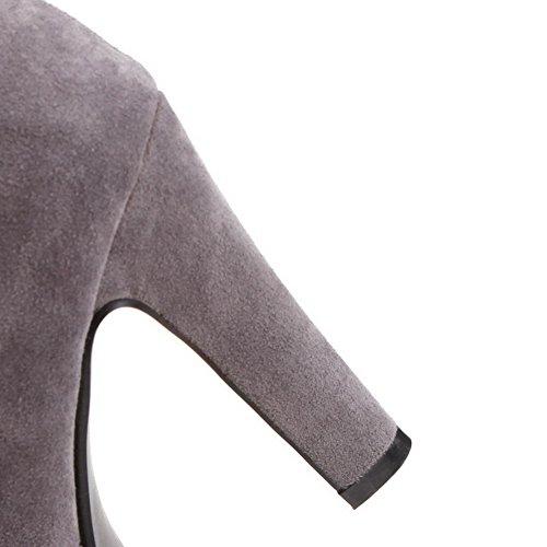 VogueZone009 Donna Cerniera Tacco Alto Pelle Di Mucca Frange Alta Altezza Stivali Grigio