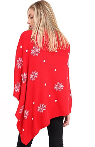 Femmes Cape Châle Wrap long pull en tricot Plié Rouleau Bouton Pull à col dames Poncho Top 8-18 3D Baubles on Red