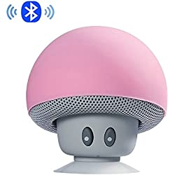 IPUIS Mignon Champignon Mini Enceinte Portable Bluetooth Haut Parleur avec Micro Intégré et Ventouse pour Smartphone iPhone, iPad, Samsung etc - Rose
