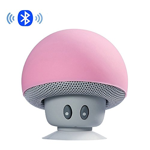 IPUIS Mini tragbarer Stereo Bluetooth Lautsprecher mit wasserdichtem Pilzes Entwurf Handfrei-Mikrofon und Saugnapf - Rosa