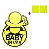 """Carina """"BAMBINO IN AUTO"""" Adesivi per auto riflettenti, adesivo riflettente per auto, paraurti per nuovi genitori, riduzione della rabbia stradale e nuovi incidenti con genitori e bambini + 2 adesivi riflettenti (Giallo)"""