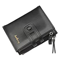 BAELLERRY Men's Wallet, PU Leather RFID Blocking Wallets Men, Thirteen Credit Card Slots, Two Banknote Compartments, Two Zip Coin Pocket & One ID Window, Bifold Wallet with Gift Box-Black