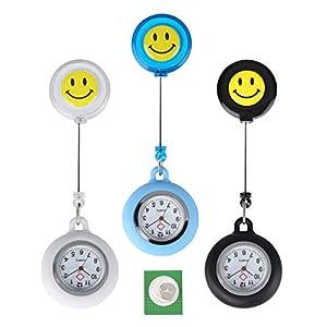 3 Stücke Taschenuhr Arzt, Silikon Retractable Quarz Taschenuhren mit Knopfbatterie Uhr Geschenk für Männer Frauen Weiß Blau Schwarz