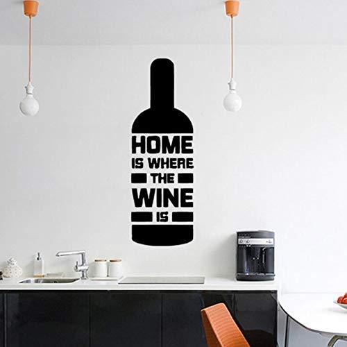 Lovemq Home Decor Abnehmbare Weinflasche Form WandtattooHaus Ist, Wo Der Wein Küche Kunst Wandbild Home Design Kunst Aufkleber19X57 Cm Ist