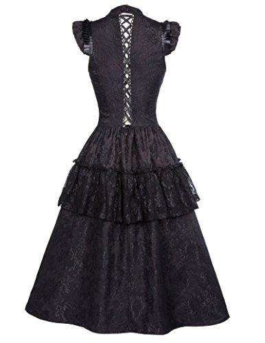 Vestido negro de Rockabilly Vestido de verano de encaje Vestido largo de cóctel Vestido gótico Steampunk Vestido de fiesta elegante Vestido de fiesta L BP380-1