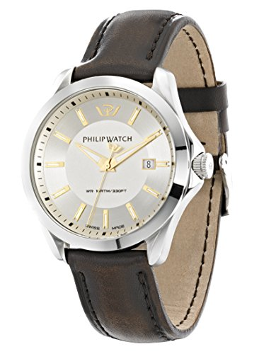 Philip Blaze Men's Quartz Watch with Beige Dial Analogue Display and Brown Leather Strap R8251165002