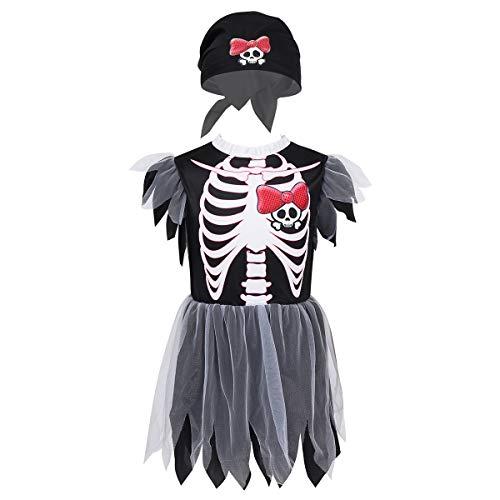 iixpin Kinder Piraten-Kostüm Skelett Kinderkostüm Piratin Kleider Mädchen Cosplay Fasching Karneval Verkleidung Trachtenkleid Gr.104-140 Schwarz 104-116 (Skelett Pirat Kind Kostüm)