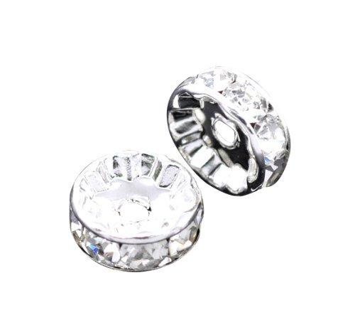 Bead And Button Company Confezione da 50argento placcato strass trasparente rondelle Spacer perline 10x 4mm