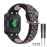 T-BLUER Watch Band Compatible for Garmin Forerunner 35 Correa,Accesorio de Pulsera de Pulsera de reemplazo de Silicona Transpirable Compatible con Garmin Forerunner 35 Reloj Inteligente,Negro Rosa