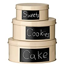 Premier Housewares Clifton Storage Tins with Chalkboard - Set of 3, Cream