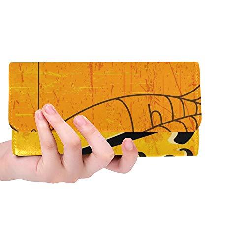 rdefinierte kreative Text Happy Halloween Hand Schriftzug Frauen Trifold Wallet Lange Geldbörse Kreditkarteninhaber Fall Handtasche ()