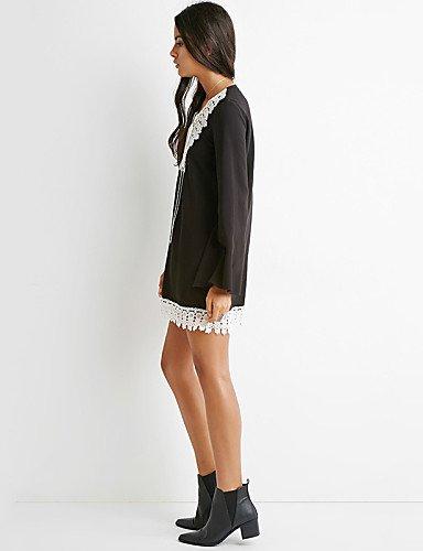 PU&PU Robe Aux femmes Ample Street Chic,Mosaïque Col en V Mini Polyester BLACK-L