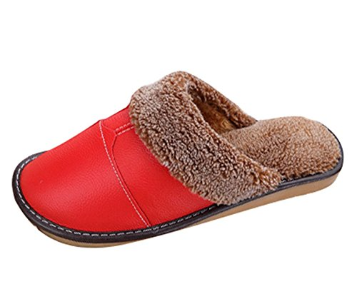 Minetom Unisex Warme Baumwolle Pantoffeln Hausschuhe Kuscheliger Plüsch Beleg auf PU ledernen Haus Hefterzufuhren Rutschfeste Slippers B Rosa EU 37 38 (Schuhe Plaid-herren)