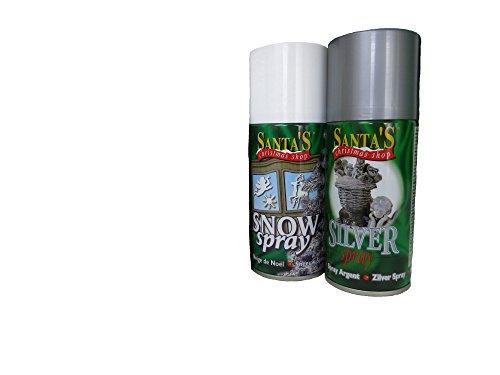 2-teiliges Kunstschnee-Spray-Set, 1 x Kunstschnee und 1 x Silber-Spray + 20 Schablonen inklusive