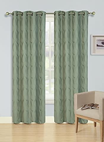 Kashi Home Joanne Collection Blackout Window Panel / Curtain / Drape 54x 84 Subtle Jacquard Design in Olive - Single Panel, Grommet Top Panel by Kashi Home