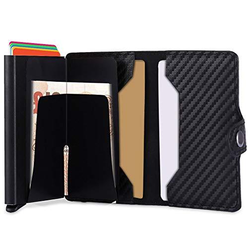 7889b94cef Porta Carta di Credito,Portafogli Multifunzionale in Pelle RFID in  Alluminio,Portafoglio da Viaggio