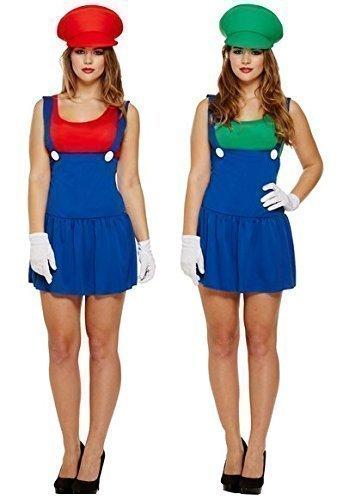 Paar Damen Sexy Super Mario und Luigi Klempner 1980s Jahre 1990s Kostüm Verkleidung Outfit Einheitsgröße (Am Besten Passt UK 8-12)