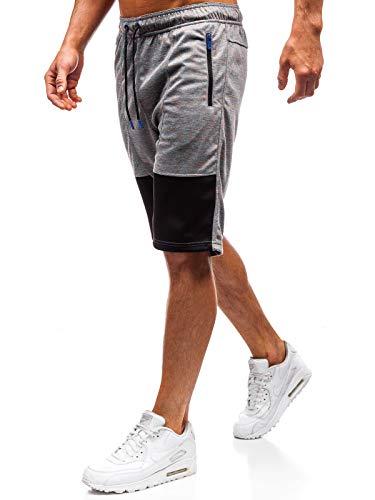 BOLF Herren Kurze Hose Shorts Street Style CRWS DNM Q3859 Grau L [7G7] Sportliche Hose