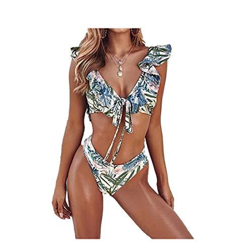 YUAN Damen Bikini Set mit Bügel Gepolstert Push up Padded Drucken Bra Bademode Neckholder Badeanzug Rüschen Triangel Unterteil im Brasil-Style (XXL, Blau)