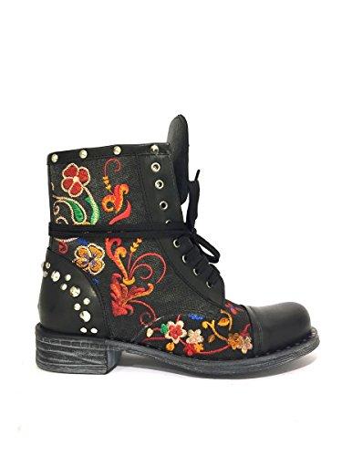 Stivali DVas03-55 ricamo in pelle fiori e borchie Divine follie nero, 38 MainApps