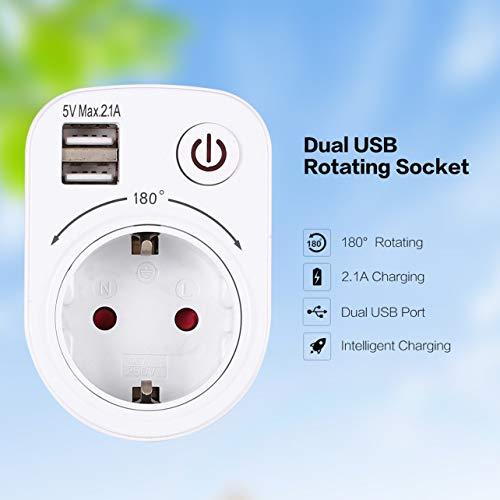 WOSOSYEYO 5V 2.1A eléctrico con Doble Puerto USB Cargador Adaptador de Enchufe...
